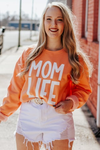 Mom Life Sweatshirt - Orange