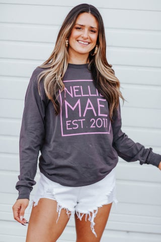 Nellie Mae Logo Long Sleeve Tee - Charcoal