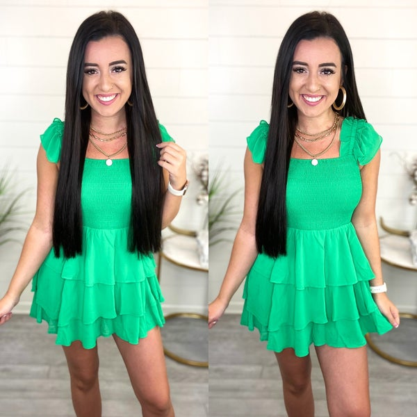 A Look At You Smocked Romper - Green