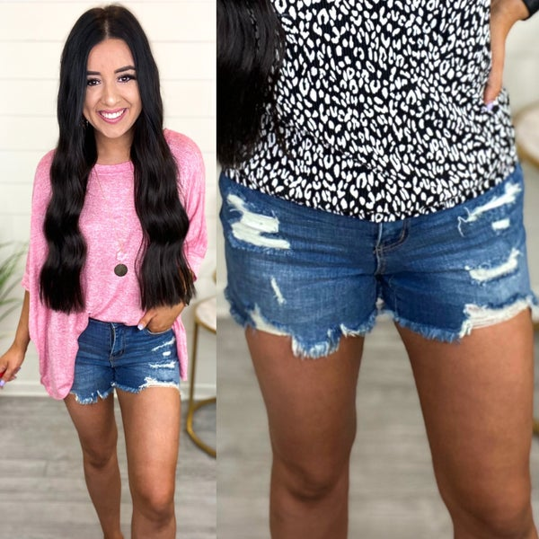 Avery Mid-Rise Distressed Judy Blue Jean Shorts