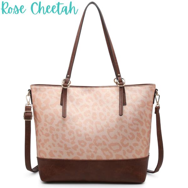 Two Tone Tote *Final Sale* - Rose Cheetah
