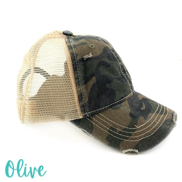 Distressed Camo Trucker Hat *Final Sale* - Olive