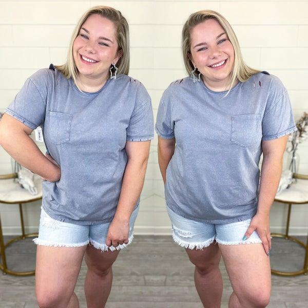 Weekend Ready Acid Wash Distressed T-Shirt - Indigo