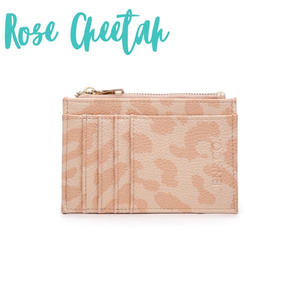 The Sia Card Holder Wallet *Final Sale* - Rose Cheetah