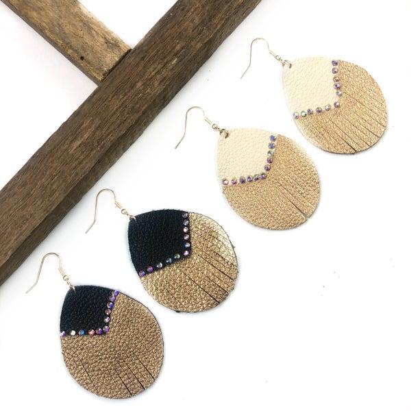 Two Toned Rhinestone Earrings *Final Sale*