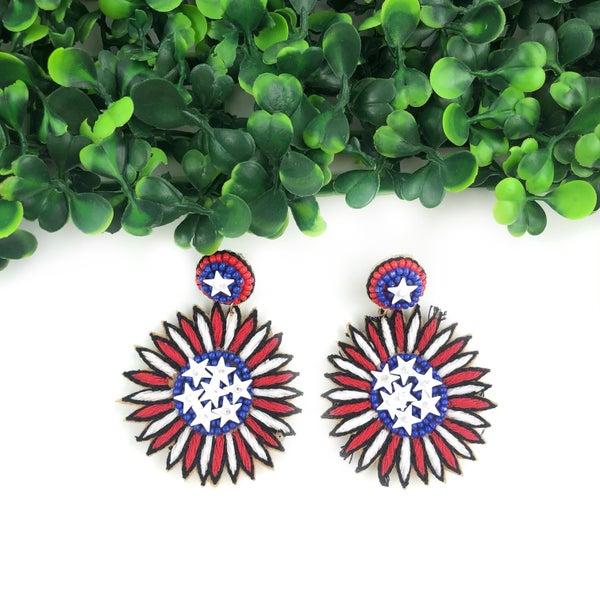 Patriotic Flower Earrings *Final Sale*