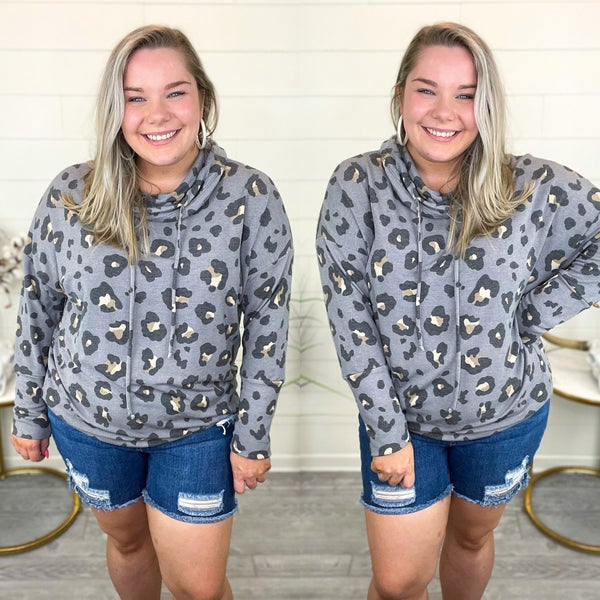 Cowl Neck Cheetah Pullover Top - Grey