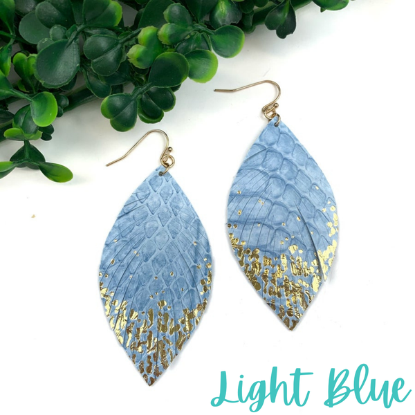 Gold Dipped Feather Earrings *Final Sale* - Light Blue
