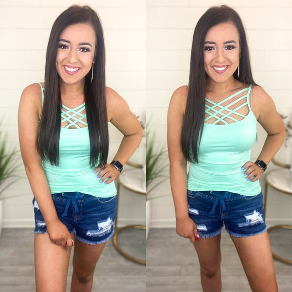 Deal of The Day - Criss Cross Tank Top *Final Sale* - Mint