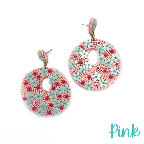 The Evelyn Seed Bead Earrings *Final Sale* - Pink