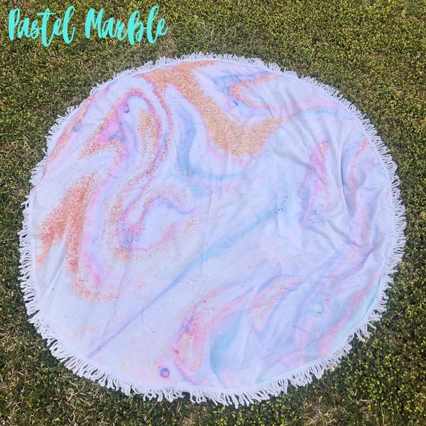 Round Beach Towel *Final Sale* - Pastel Marble