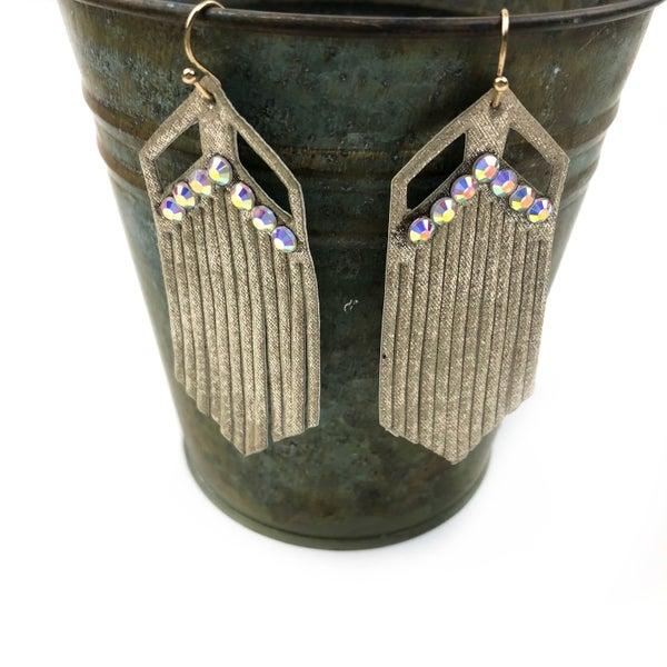 Pleather Rhinestone Earrings *Final Sale*