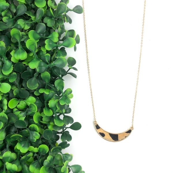 The Olivia Animal Print Crescent Necklace *Final Sale*