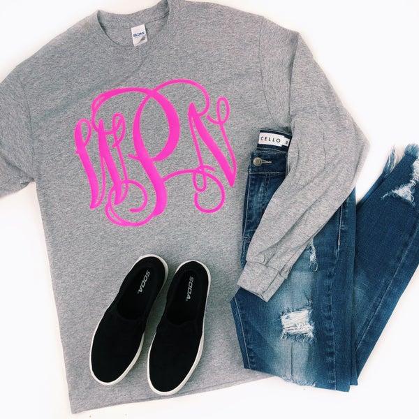 Neon Pink Monogram Sport Grey Gildan Long Sleeve T-Shirt *Final Sale*