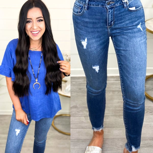 Isabelle Mid Rise Cropped Skinny Jeans