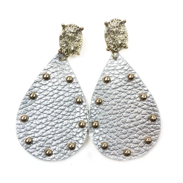 Leather & Studded Earrings *Final Sale* - Silver