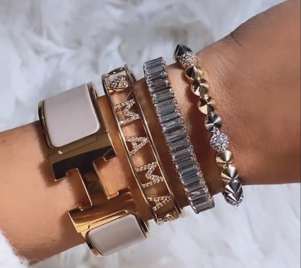 Golden Crystal Heart Mama Cuff Bracelet