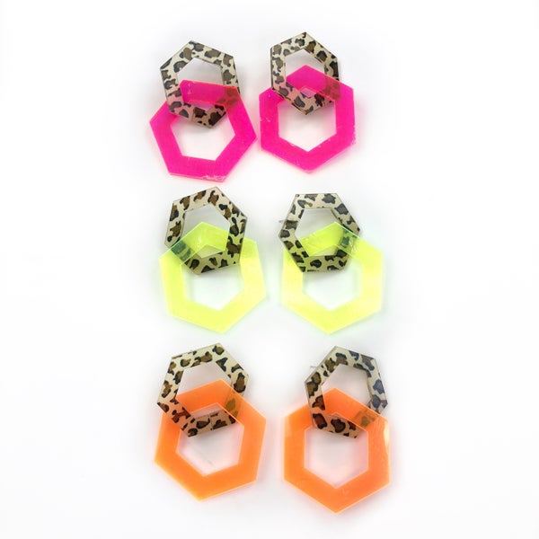 Black Thursday 2020 - Cheetah + Neon Earrings *Final Sale*