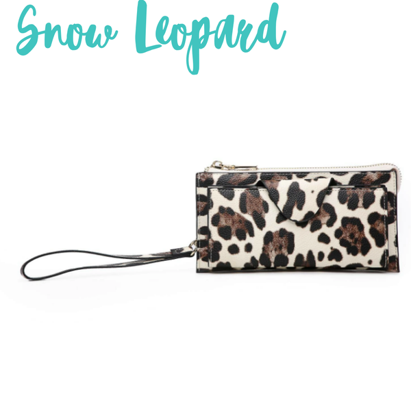 Kyla RFID Wallet with Snap Closure *Final Sale* - Snow Leopard