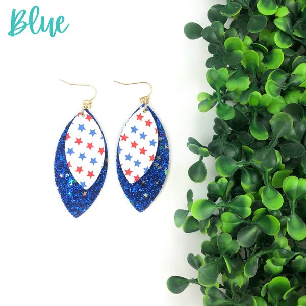 USA Pleather Glitter Earrings *Final Sale* - Blue