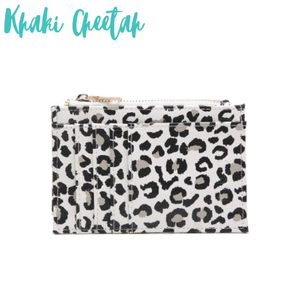 The Sia Card Holder Wallet *Final Sale* - Cheetah Khaki