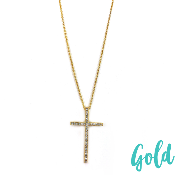 Rhinestone Cross Necklace *Final Sale* - Gold