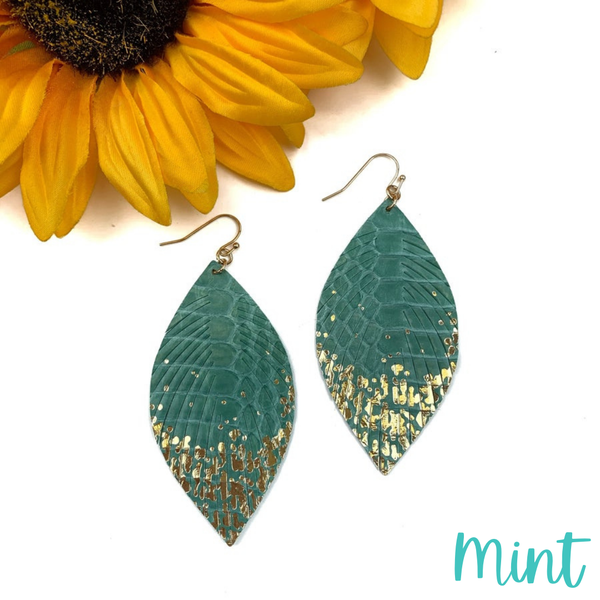 Gold Dipped Feather Earrings *Final Sale* - Mint