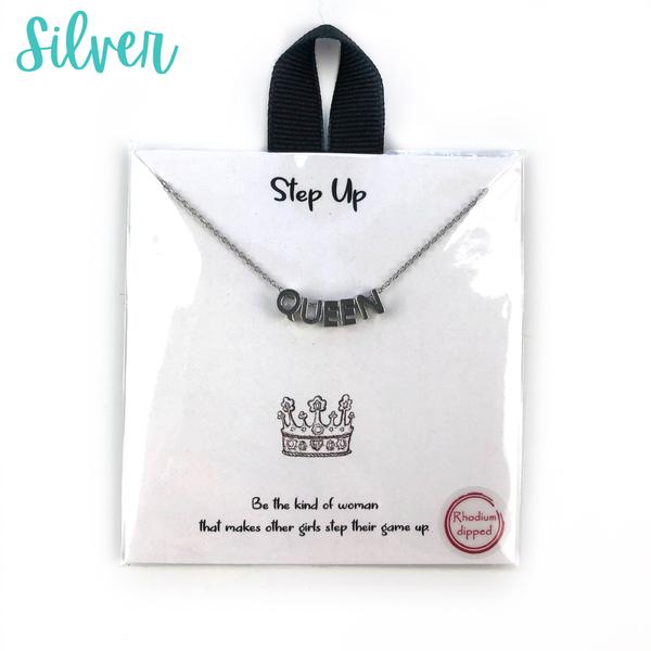 Block Letter Queen Necklace *Final Sale* - Silver