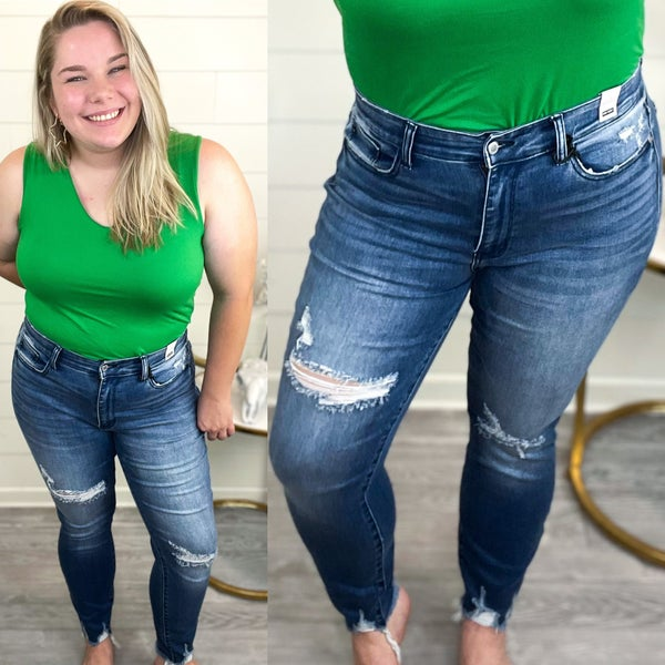 Alana High Rise Destroyed Skinny Jeans