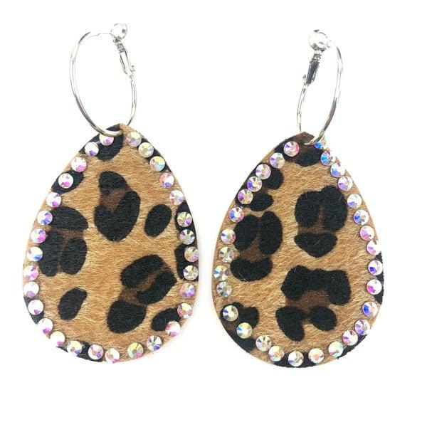 Cheetah + Rhinestone Earrings *Final Sale*