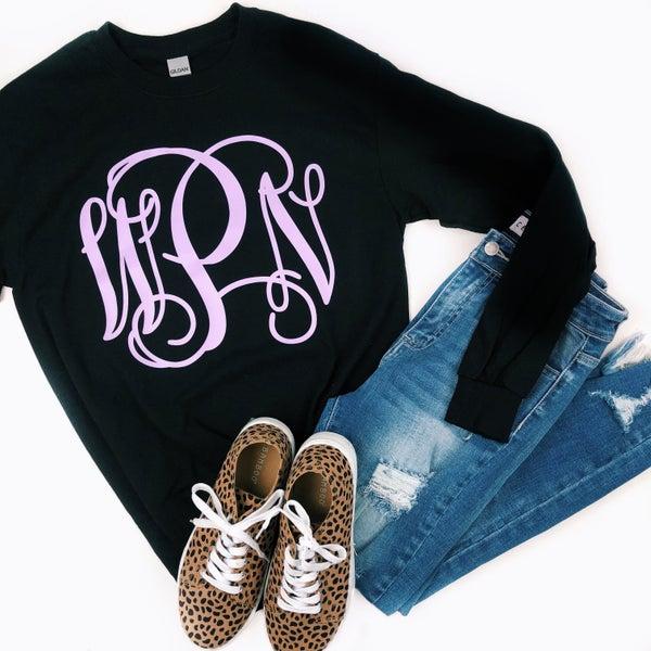 Lavender Monogram Black Gildan Long Sleeve T-Shirt *Final Sale*