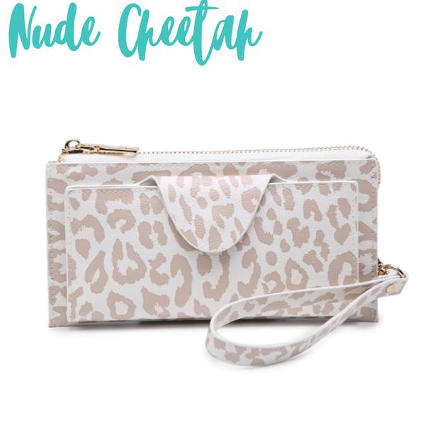 Kyla RFID Wallet with Snap Closure *Final Sale* - Nude Cheetah