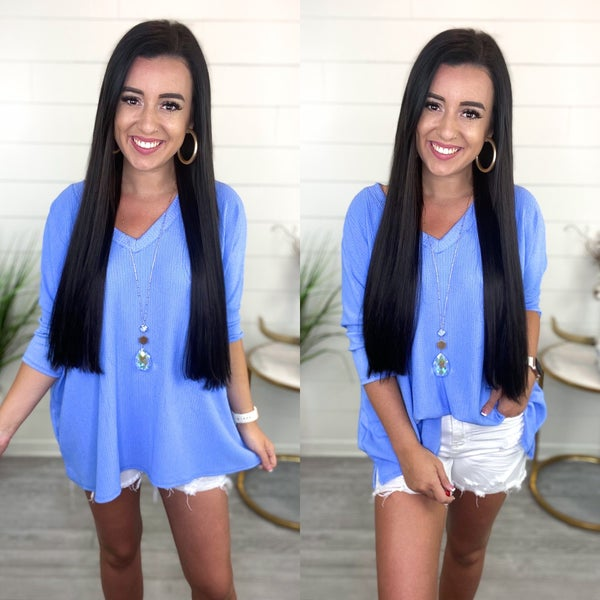 Believe In Forever Blue Knit Top