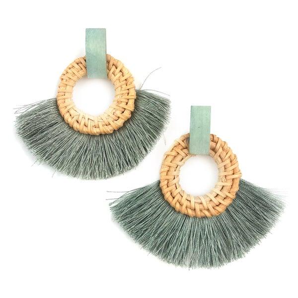 Follow The Coast Rattan Tassel Earrings *Final Sale*