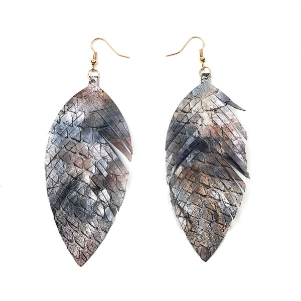 Leather Feather Earrings *Final Sale*