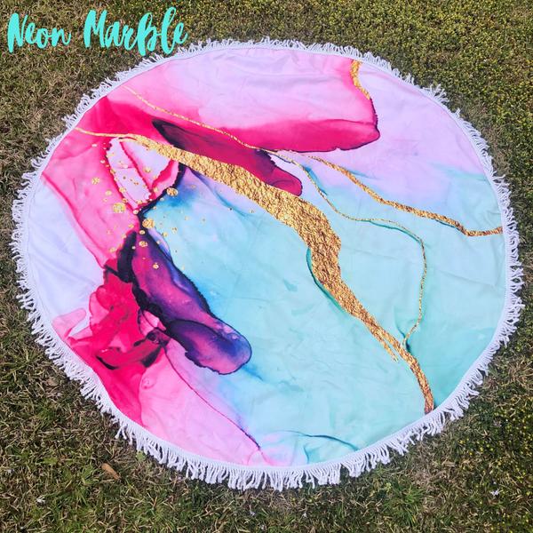 Round Beach Towel *Final Sale* - Neon Marble