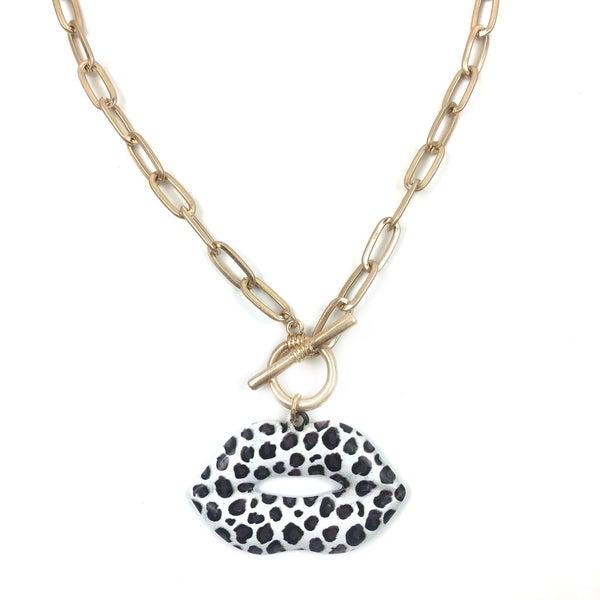 Cheetah Lips Necklace *Final Sale* - White