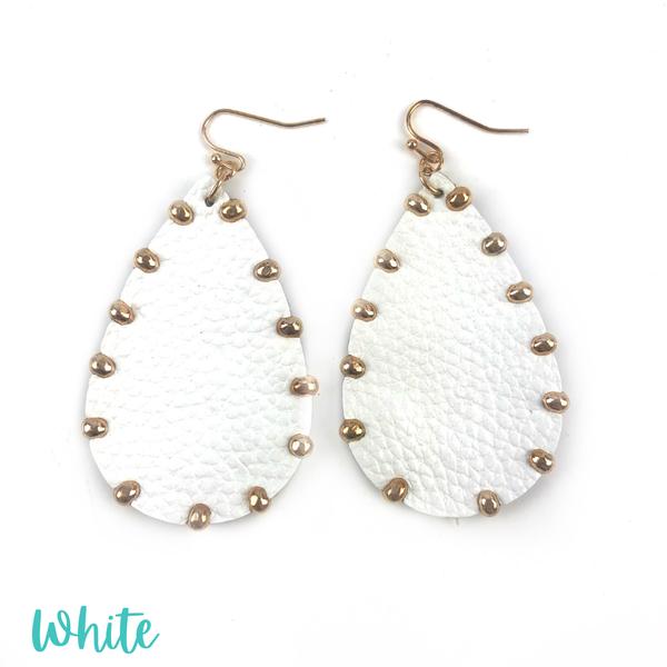 Leather Teardrop Earrings *Final Sale* - White