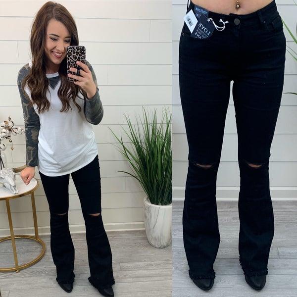 Frayed Mini Bell Bottom Jeans *Final Sale* - Black