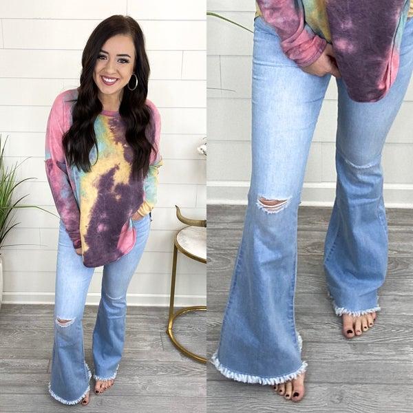 Frayed Mini Bell Bottom Jeans *Final Sale* - Light
