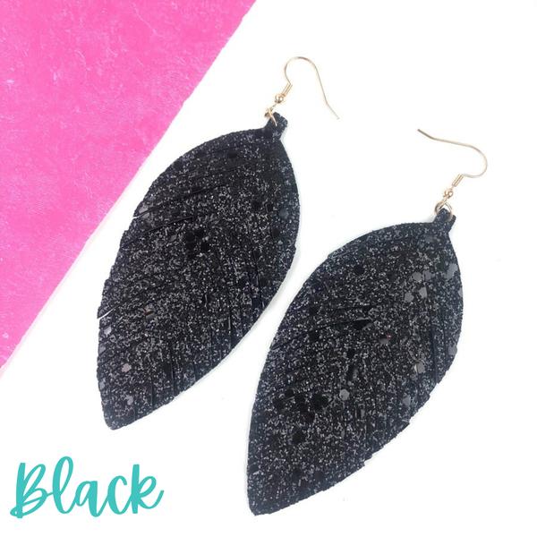 Glitter Leather Earrings *Final Sale* - Black