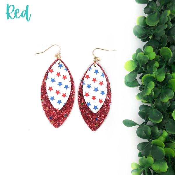 USA Pleather Glitter Earrings *Final Sale* - Red