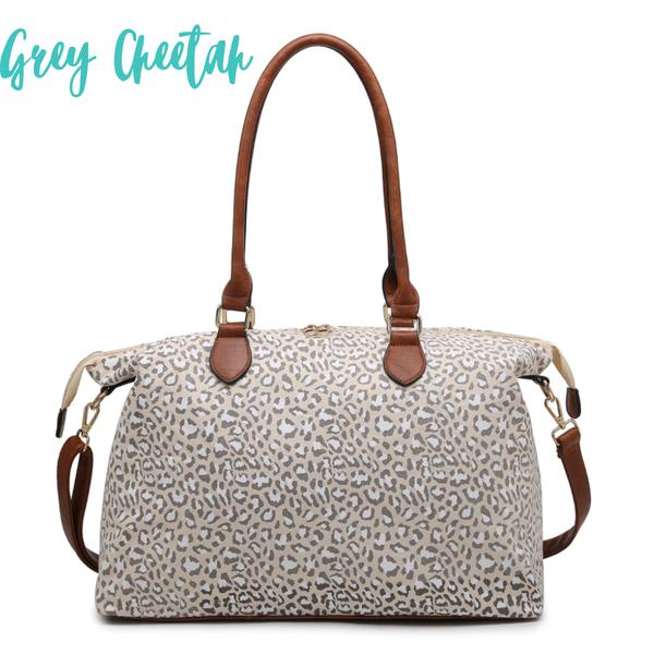 The Weekender Duffle Bag *Final Sale* - Grey Cheetah