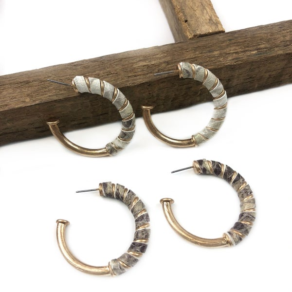 Leather Wrapped Hoops *Final Sale*