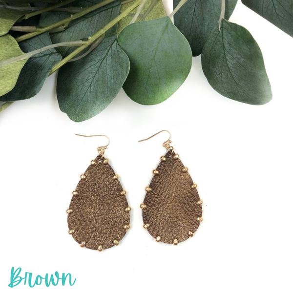 Leather Teardrop Earrings *Final Sale* - Brown
