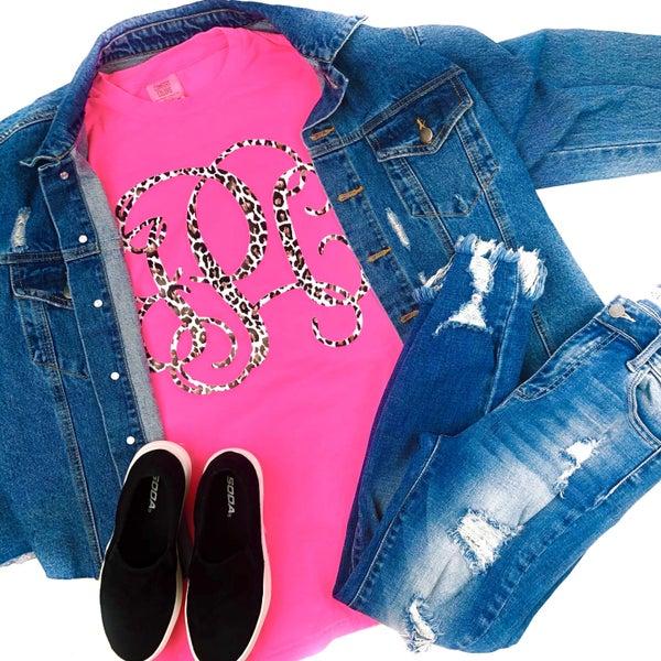Cheetah Monogram Neon Pink Comfort Colors Longsleeve T-Shirt *Final Sale*