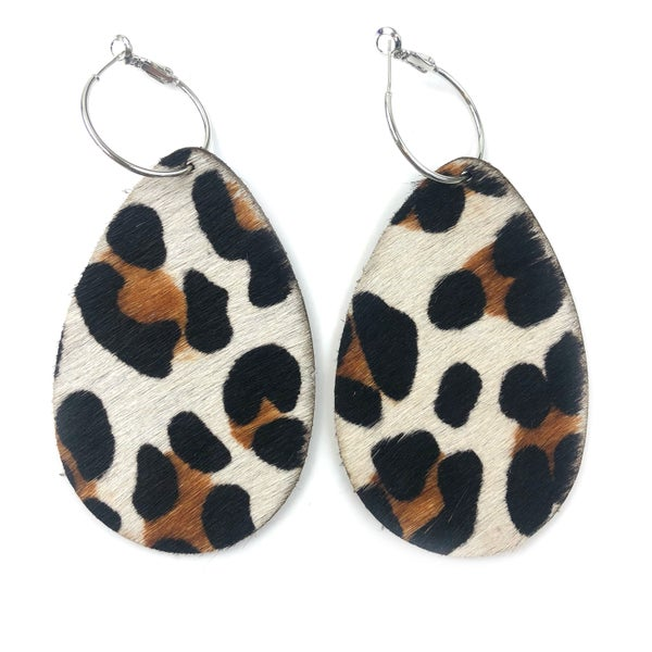 Leather Cheetah Earrings *Final Sale*