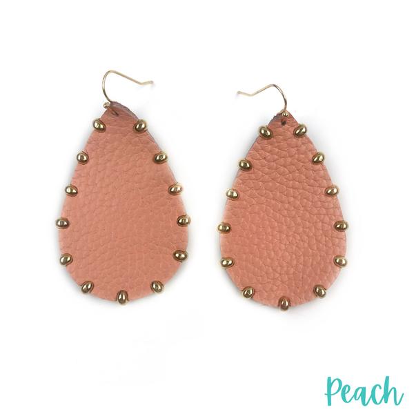 Leather Teardrop Earrings *Final Sale* - Peach