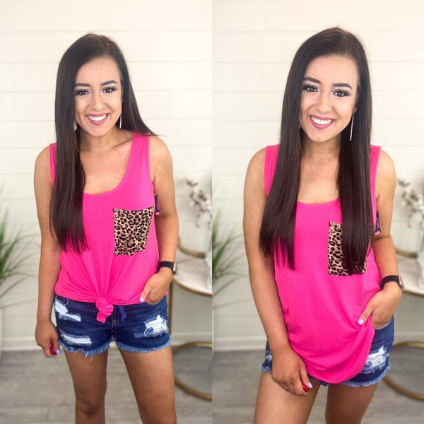Animal Print Pocket Tank Top