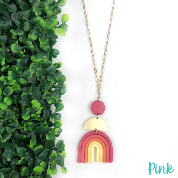 Clay Rainbow Necklace *Final Sale* - Pink